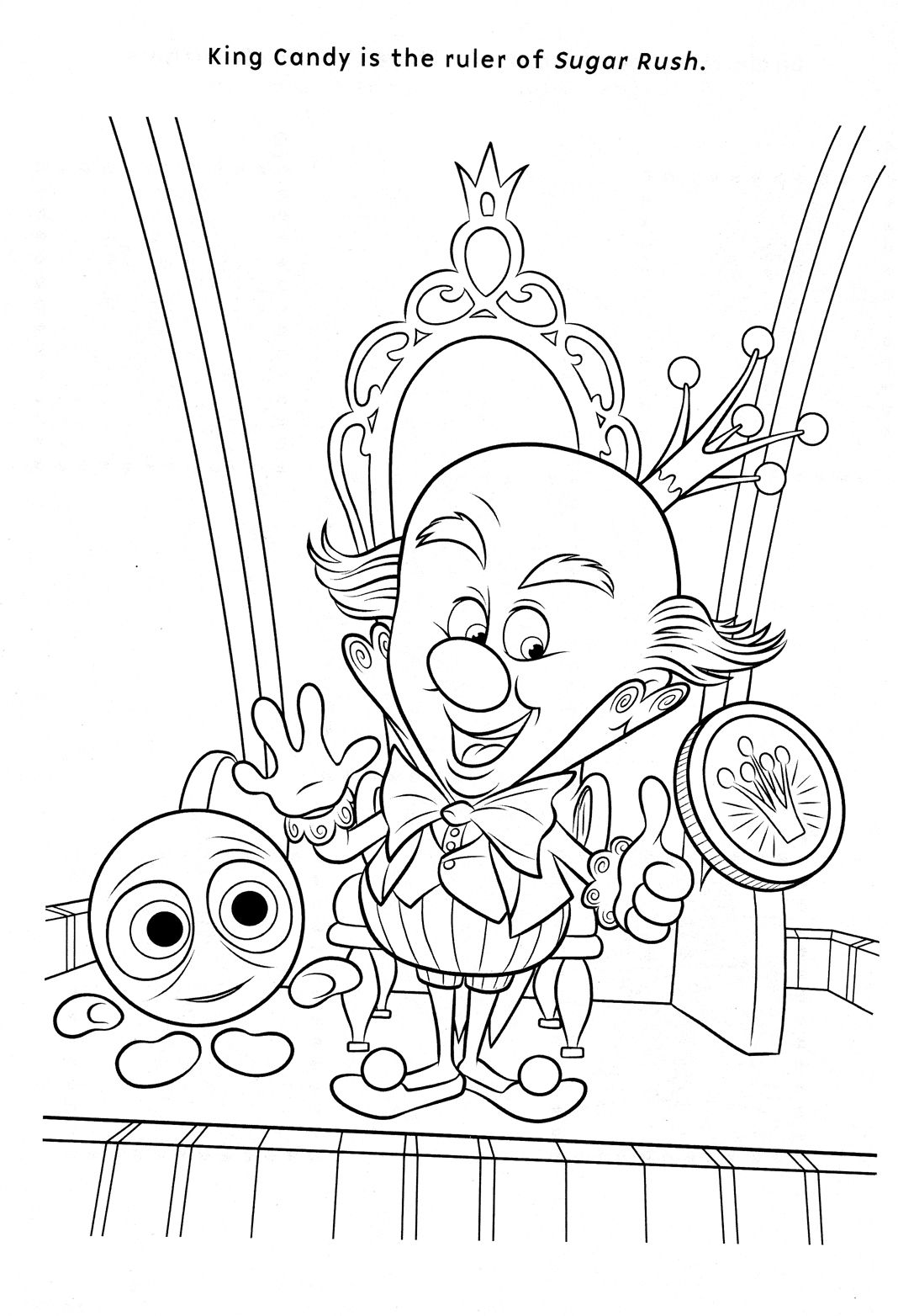 Sour Bill And King Candy Coloring Page Wreck It Ralph