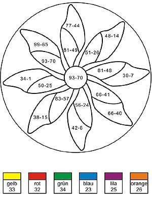 Rechenmandala für die 2 Klasse - Minusaufgaben | Mathe | Pinterest ...