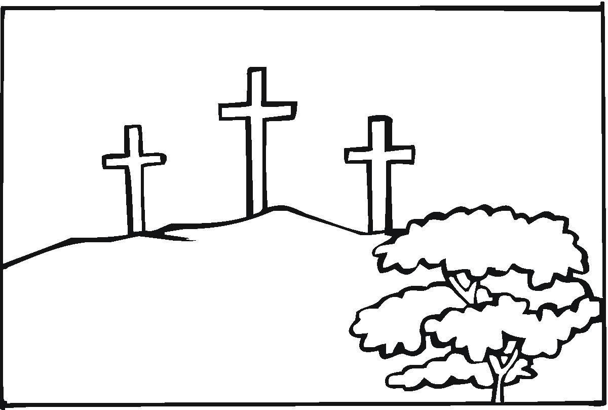 Three Crosses At Calvary Coloring Page Jpg 1200 809 Pixels Cross