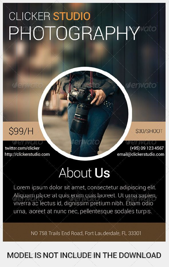 Clicker Photography Flyer  Photography Flyer Flyer Template And