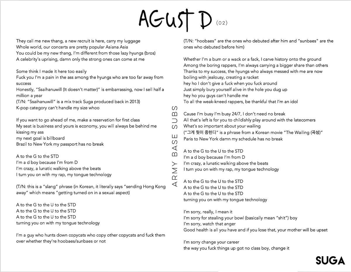 Armybasesubs On Bts Lyric Lyrics Agust D