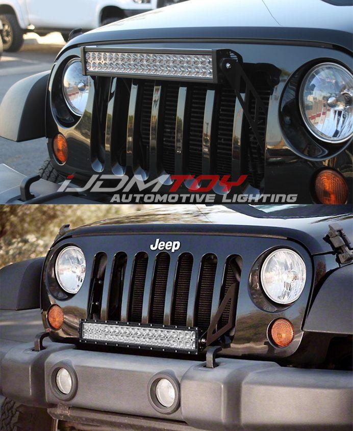 Front Grille 20 Led Light Bar Kit For 2007 17 Jeep Wrangler