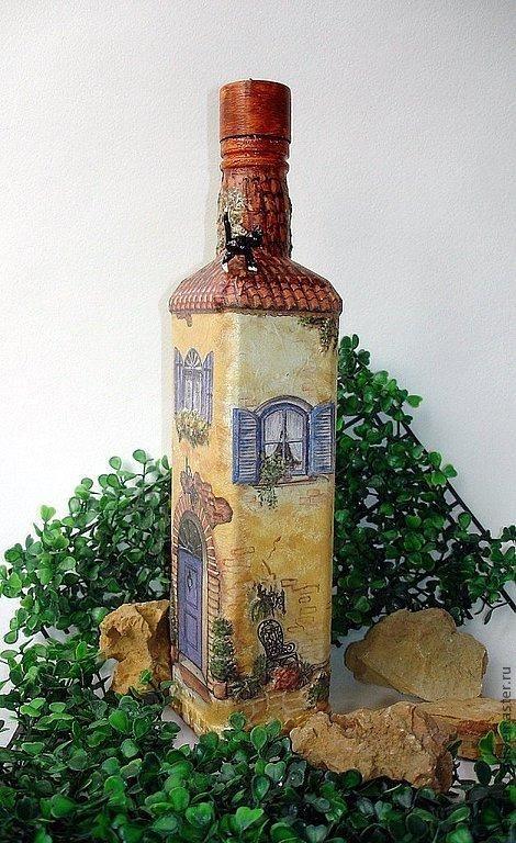 Мой прованский городок. Бутылки-светильники - Ярмарка Мастеров - ручная работа, handmade