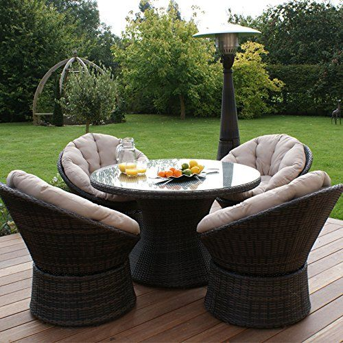 awesome maze rattan outdoor garden furniture 4 seat brown swivel chair dining set buy this and
