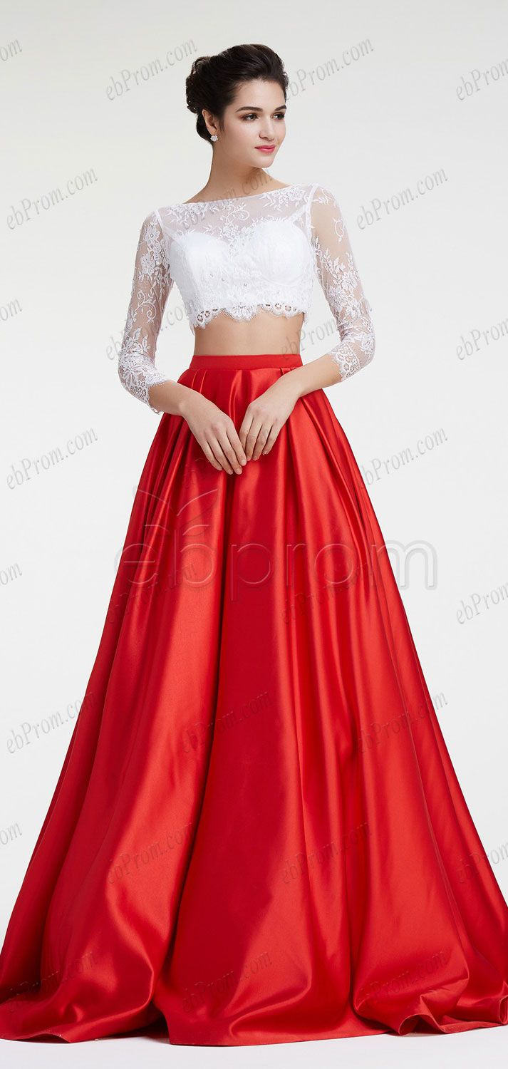 62c51ffd225f Red ball gown prom dresses long sleeves pageant dresses white lace two  piece prom dresses quinceanera