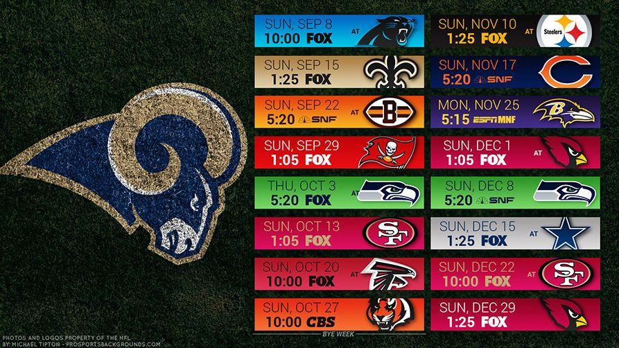 Los Angeles Rams 2019 Desktop PC Field NFL Schedule