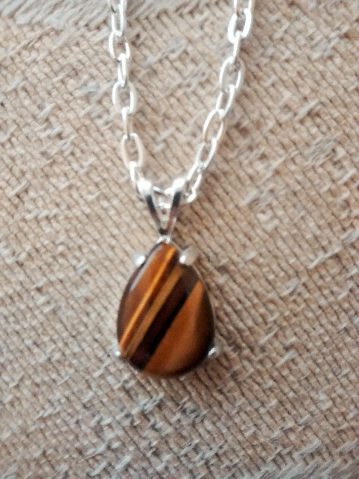 beautiful tigers eye pendant and chain