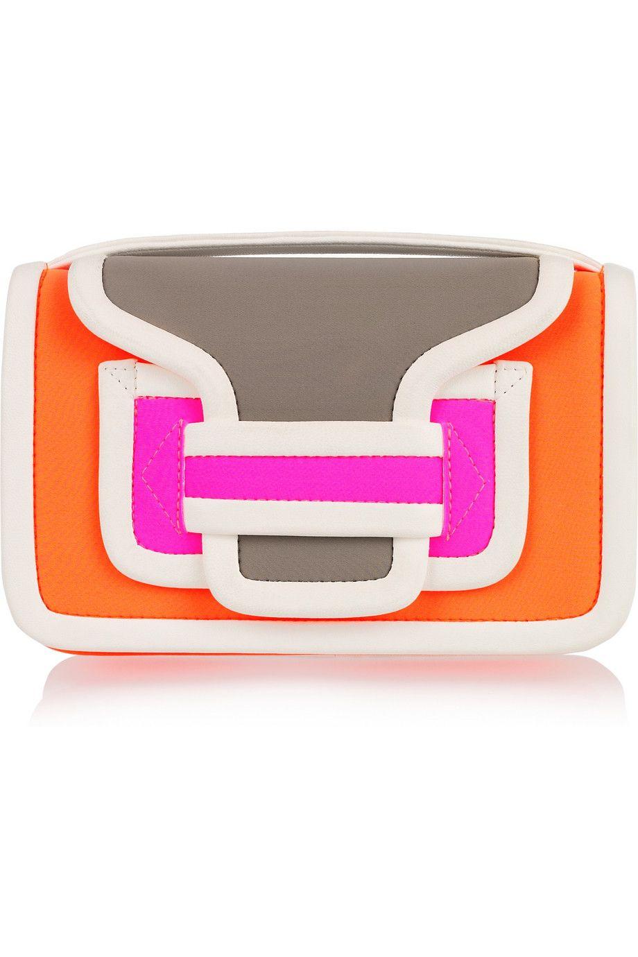 Pierre Hardy - Contrast leather-trimmed neoprene clutch