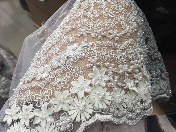 """Vestido de encaje flora de Tela vintage 51/"""" Boda de Encaje Bordado Bridal Lace Tela"""