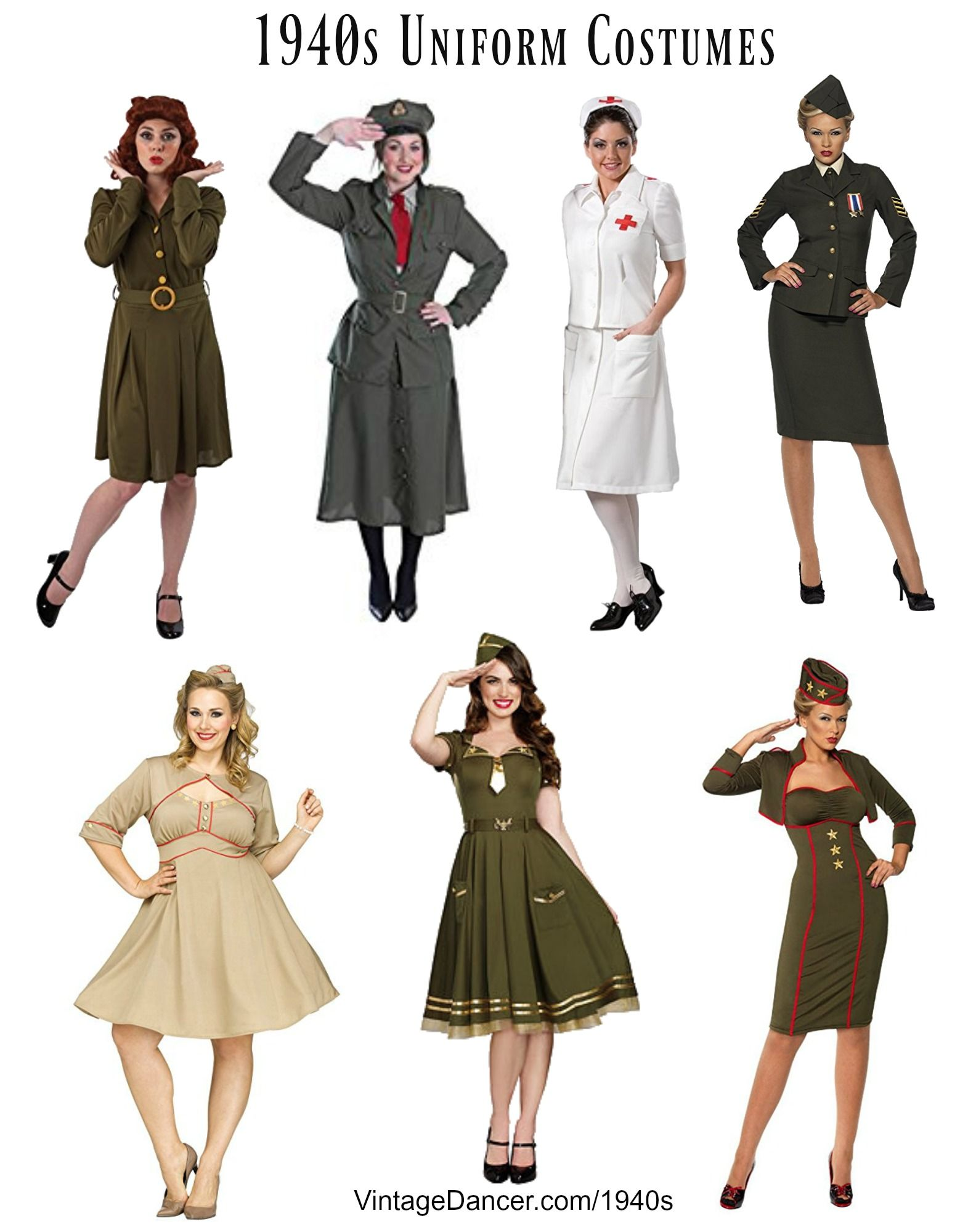 1940s WWII Uniform costumes - WAC WAVES Nurse Army Navy etc Halloween Costumes  sc 1 st  Pinterest & 50 Vintage Halloween Costume Ideas | Vintage Halloween Costumes ...