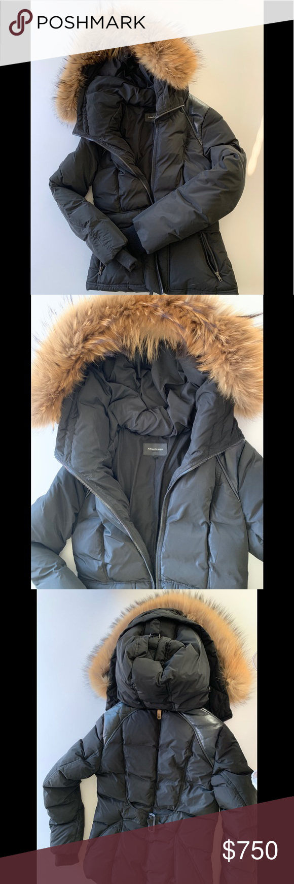 MACKAGE Coat w/ Fur Lined Hood & Leather Shoulder (With