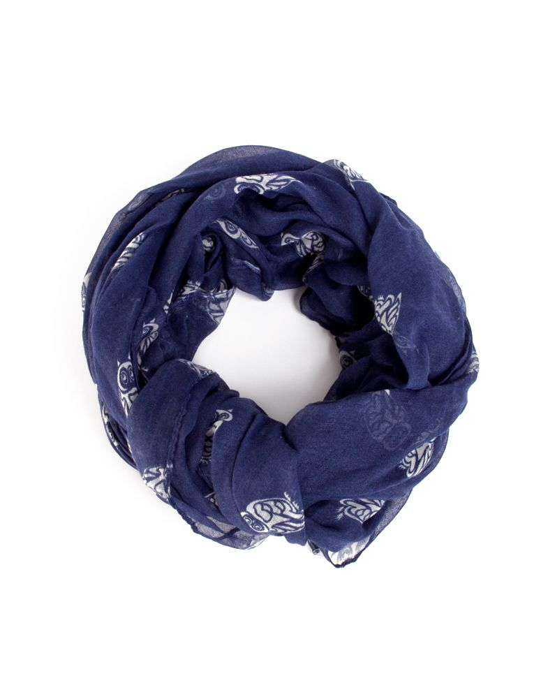 Owl Printed Scarf, Navy and White
