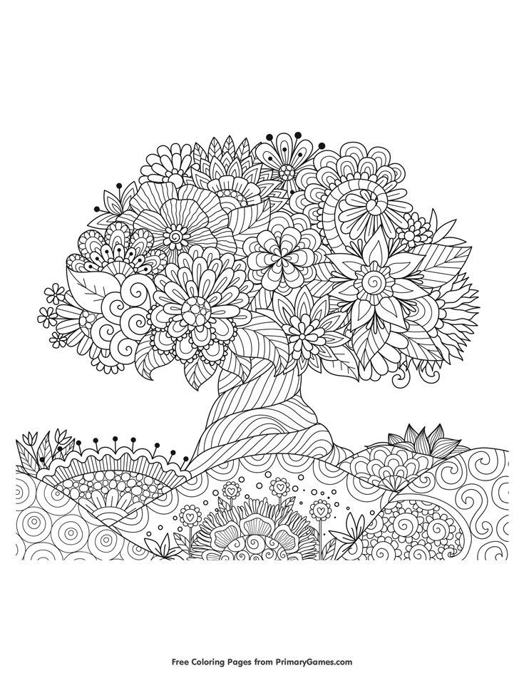 Earth Day Coloring Pages eBook Blooming Tree Coloring