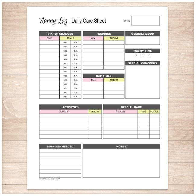 Nanny Log - Daily Infant Care Sheet - Pink & Yellow - Printable at ...