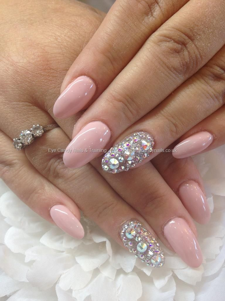 Gel 38 over acrylic almond nails with Swarovski crystal ring finger ...