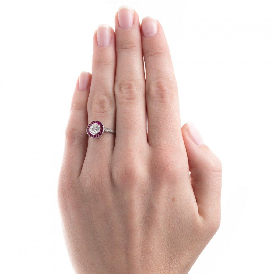 Vintage Inspired Ruby Halo Ring | Vintage Ruby Ring | Southport ...