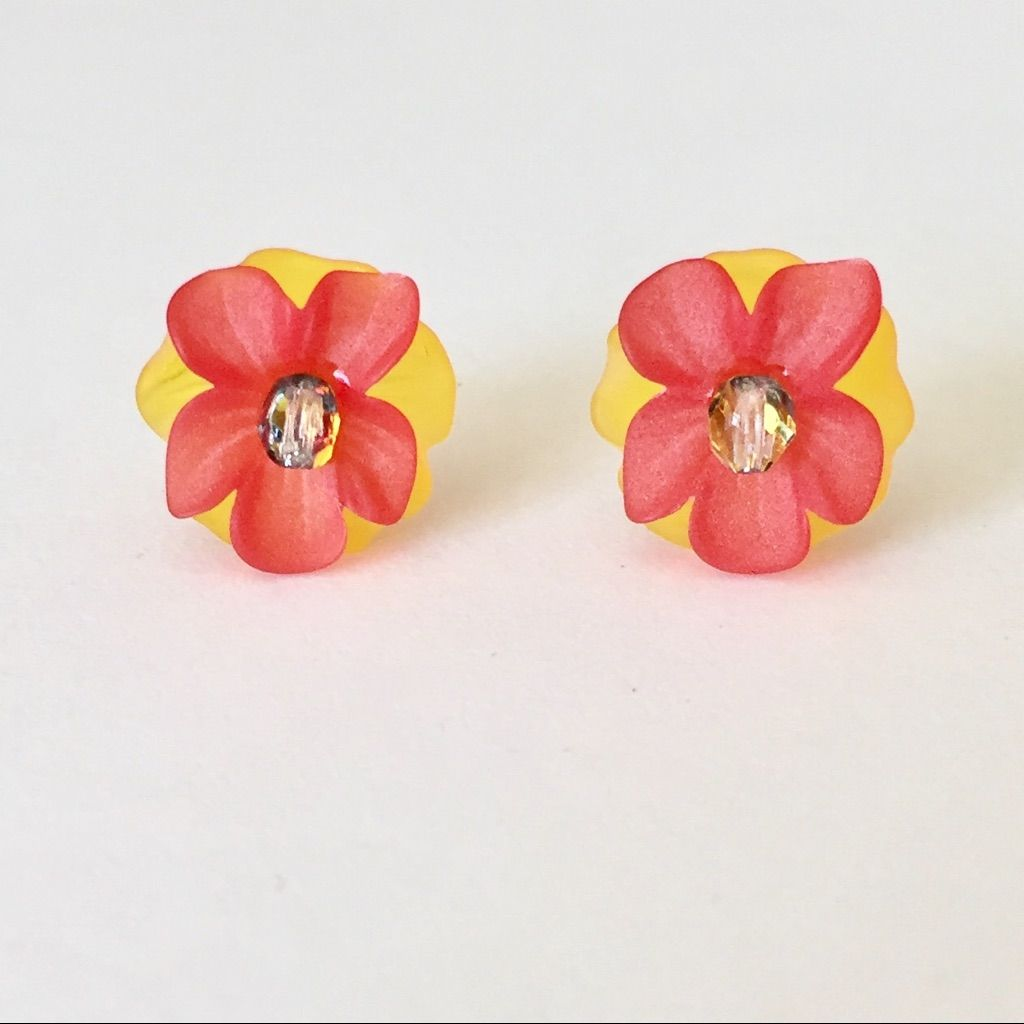 Red orange u yellow orchid stud earrings yellow orchid and products