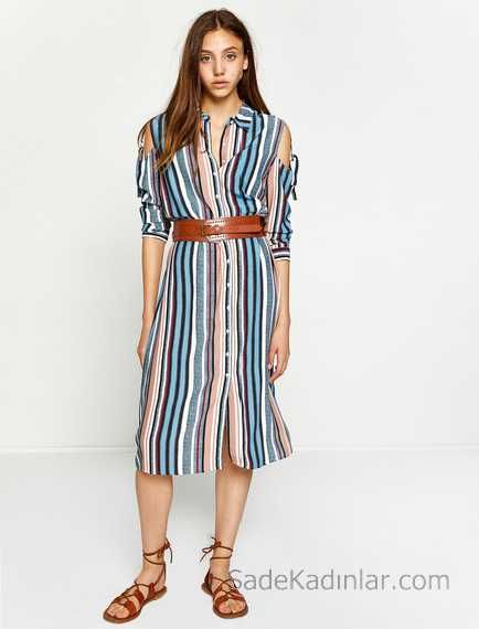 2018 Koton Elbise Modelleri Mavi Cizgili Dizalti Uzun Kollu Kemer Detayli Elbise Modelleri Elbise Mavi Cizgili