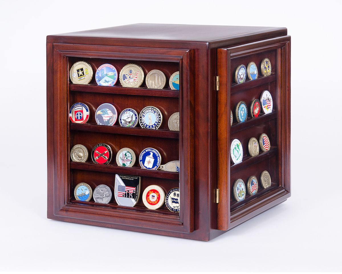 Looking To Display Challenge Coins In A Solid Mahogany Display Case Cube Displays Challenge Coins I Coin Display Case Coin Display Challenge Coin Display Case