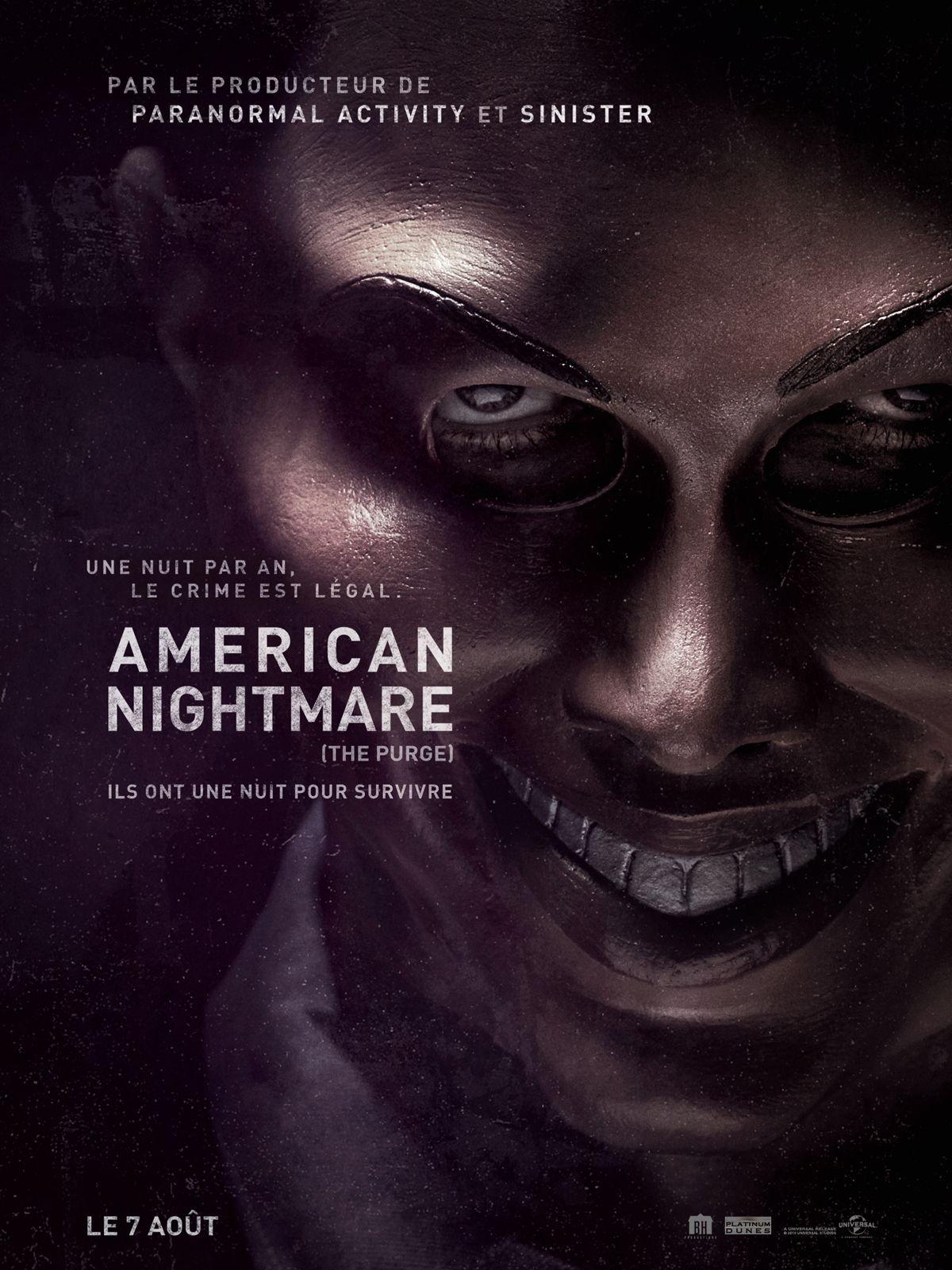 American Nightmare est un film de James DeMonaco avec Ethan Hawke, Lena Headey. Synopsis : Dans une Amérique rongée par une criminalité débridée et des prisons surpeuplées, le gouvernement a donné son accord p