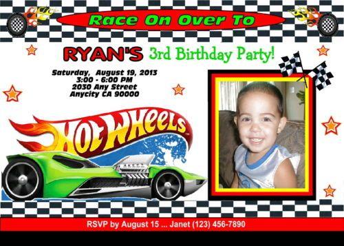 HOT WHEELS RACING CUSTOM PRINTABLE PHOTO BIRTHDAY PARTY INVITATION – Hot Wheels Birthday Invitations
