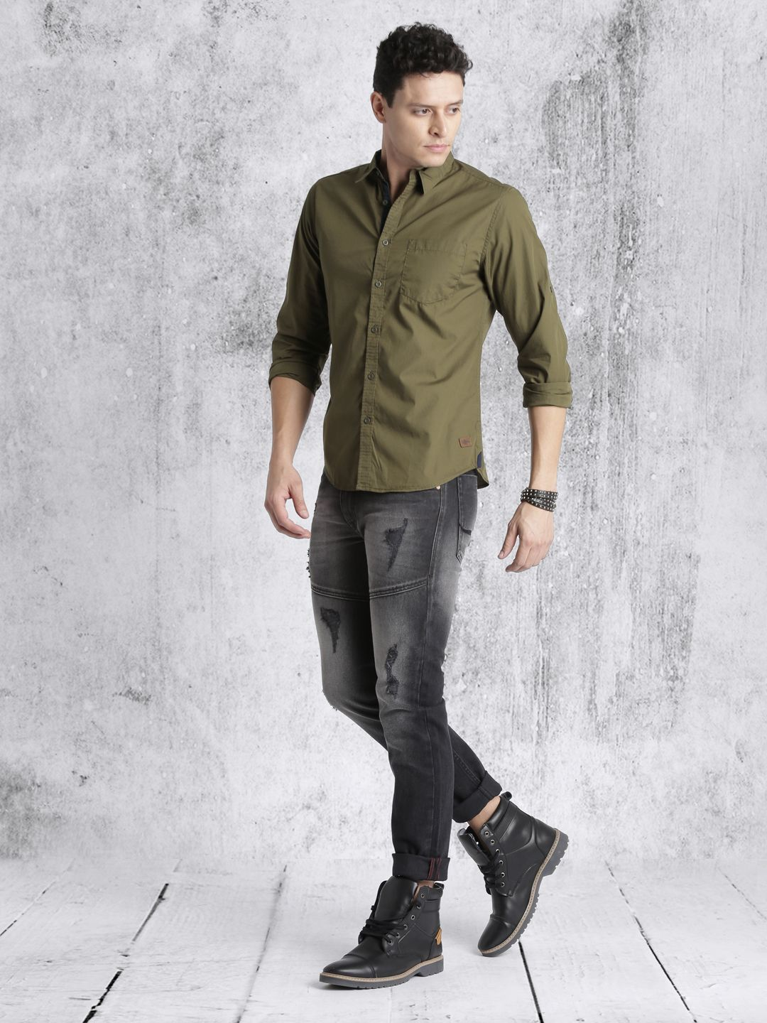 567eb3327b6 Roadster Men #Olive Green Regular Fit Solid Casual Shirt | Stylish ...