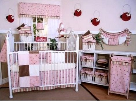 Pink And Brown Ladybug Nursery Set Pink Baby Room Nursery