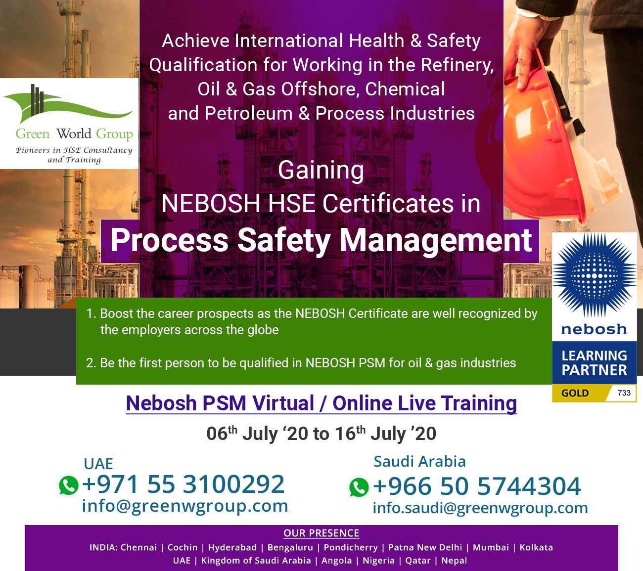 Join Nebosh PSM Live Training with GWG in