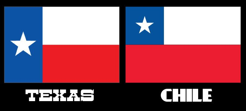 Chile Flag Right With A Star In A Small Blue Square And Texas Flag Left With A Star In A Large Blue Rectangle Chile Flag Texas Travel Texas