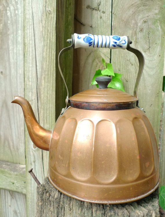 Copper Tea Kettle Ceramic Blue And White Handle By Cozystudio 44 00 Tea Kettle Copper Tea Kettle Kettle
