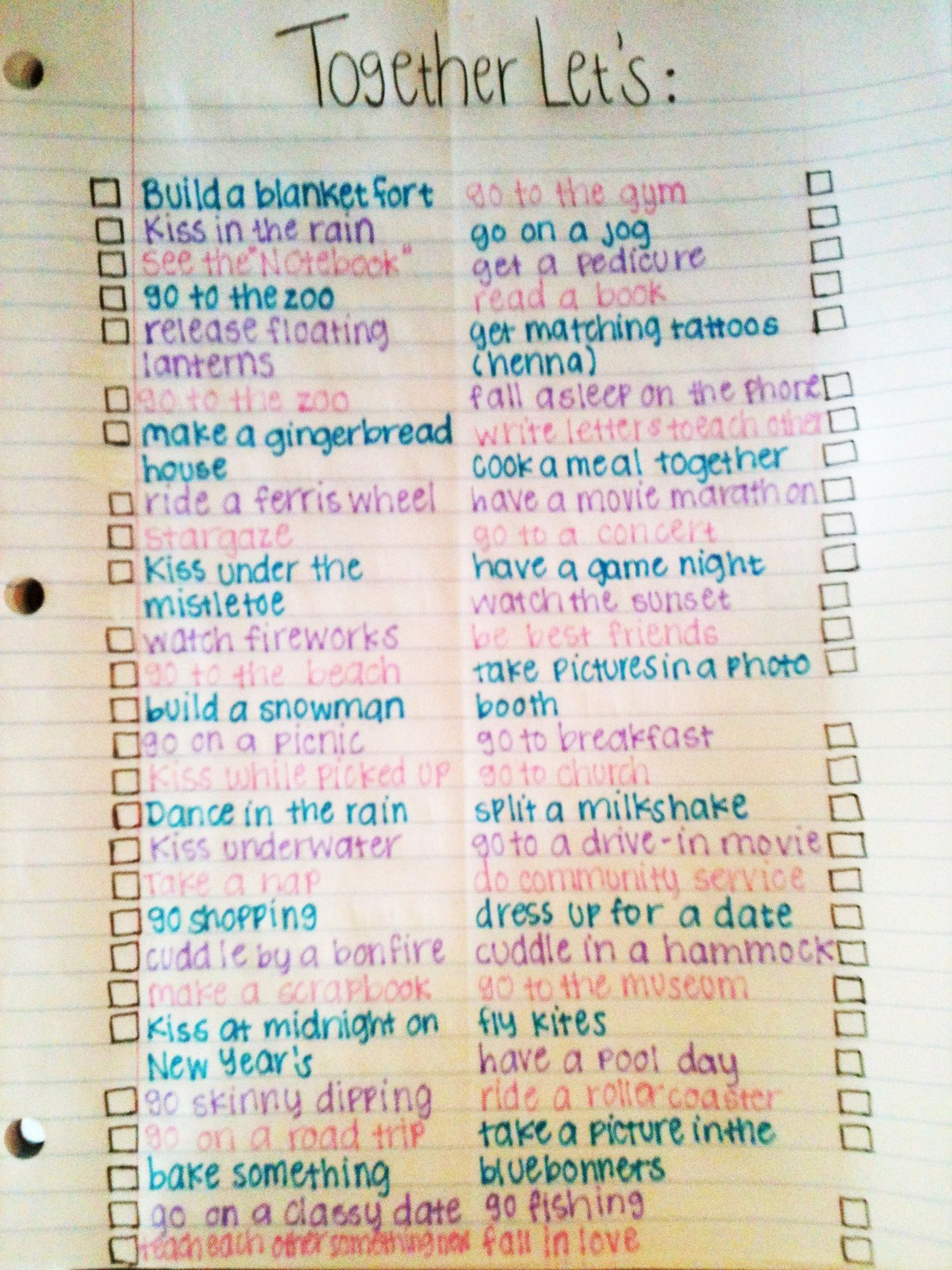 Ideas for writing a bucket list