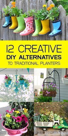 12 Creative DIY Alternatives to Traditional Planters is part of Creative garden Planters - Add pizazz to your garden with one of these unique garden planters