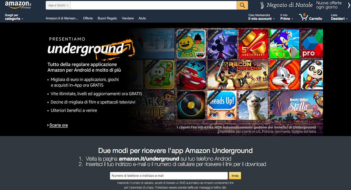 Amazon Underground, le app gratuite disponibili anche in