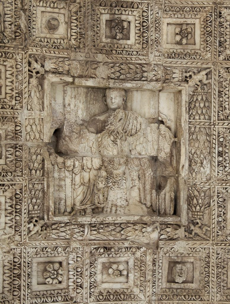 Roman Architecture Vault apotheosis of titus. relief on the vault of the arch of titus. 81