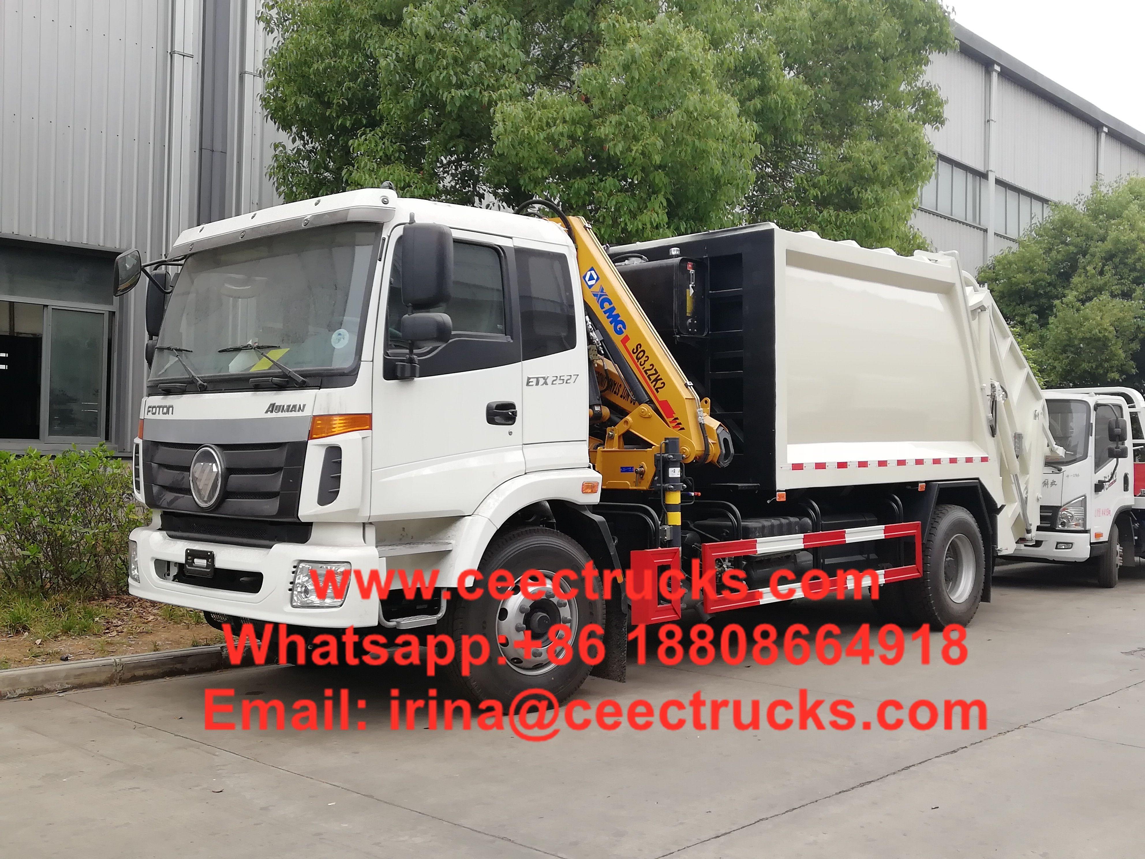 Foton 8 cbm garbage compactor with crane compactor