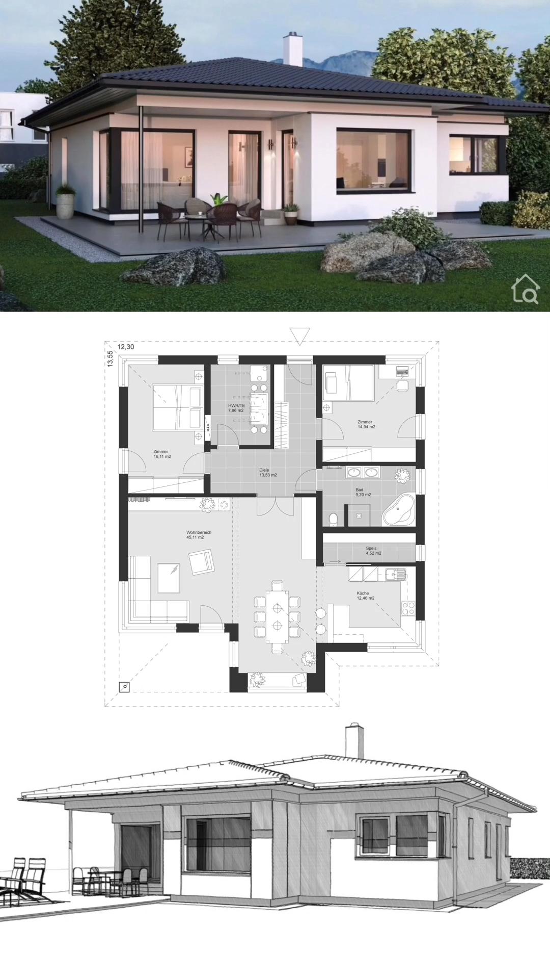 Photo of Moderner Bungalow mit Walmdach bauen, Haus Design modern mit Winkelbungalow Grundriss