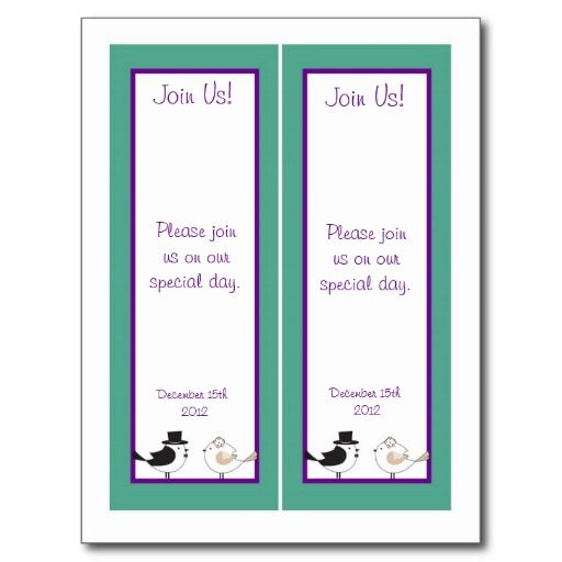 2 Love Birds Teal/Purple Wedding Bookmarks Post Cards