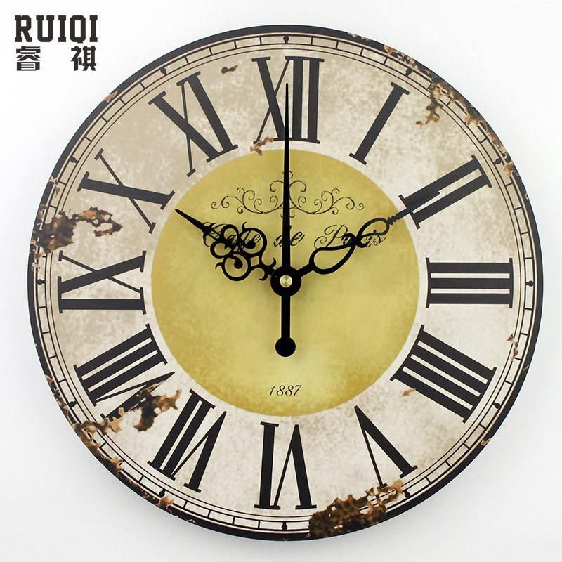 Large Round Vintage Style Wall Clock   Wall clocks, Clocks and Rounding