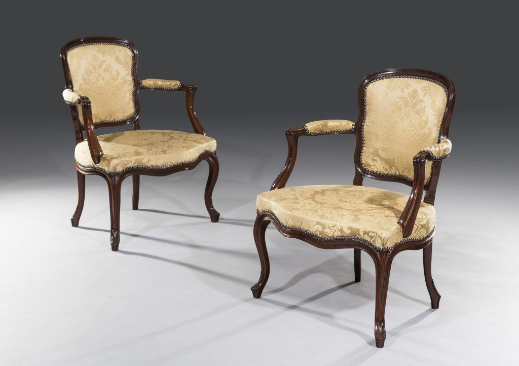 Pair Of 18th Century George Iii Period Carved Mahogany Open Armchairs Armchair Carving 18th Century