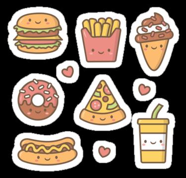 Kawaii Love Junk Food Doodles Sticker By Rustydoodle Food
