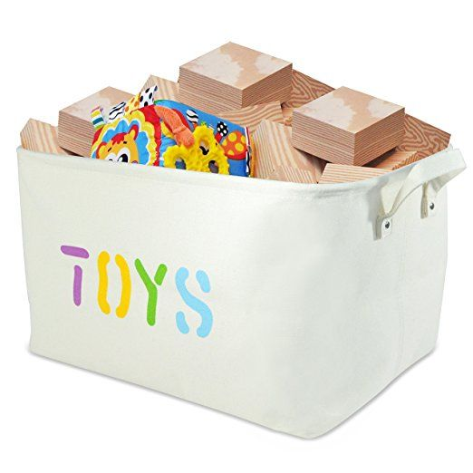 Canvas Storage Bin 17x13x10 Quot Large Enough For Toy Storage Storage Basket For Organizing Baby T Toy Storage Baskets Canvas Toy Storage Organize Baby Toys