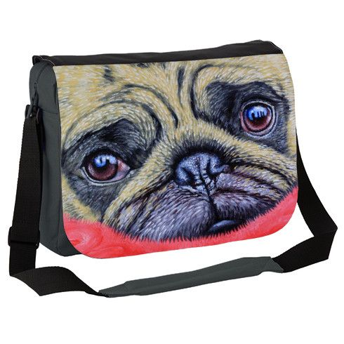 Pug  Cute Puggy Dog  Messenger Bag by simon-knott-fine-artist at zippi.co.uk