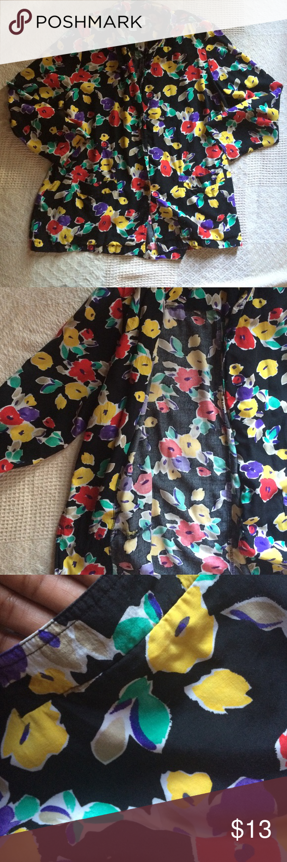 Floral Blazer (Plus) Cool and comfy. Lightweight blazer. One button closure. Padding at shoulders. Plus sized but large sized models have worn for a vintage baggy look. Jackets & Coats Blazers