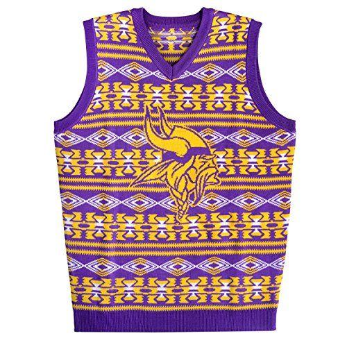 Nfl Minnesota Vikings Aztec Print Ugly Sweater Vest Small Team Color