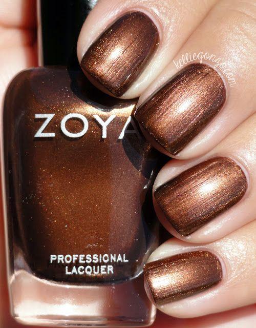 Zoya Cinnamon Brown Bronze Y Liquid Metal Metallic Nail Polish Lacquer