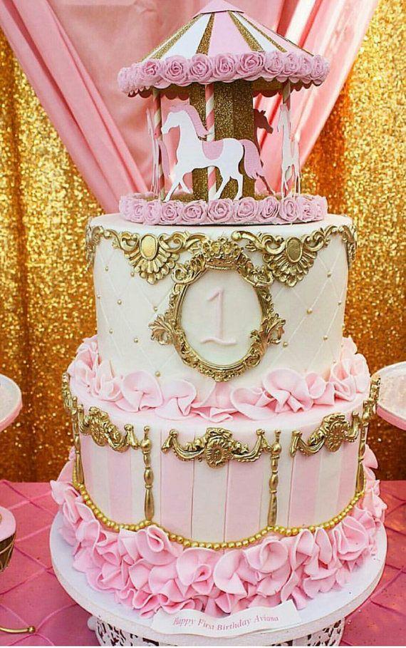 3d Carousel Cake Topper Or Centerpiece In 2019 Carousel