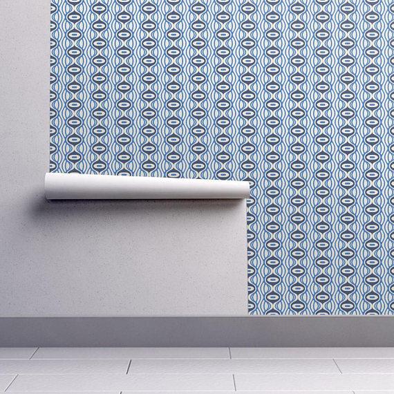 Navy Blue Wallpaper Raining Linen by Holli Zollinger