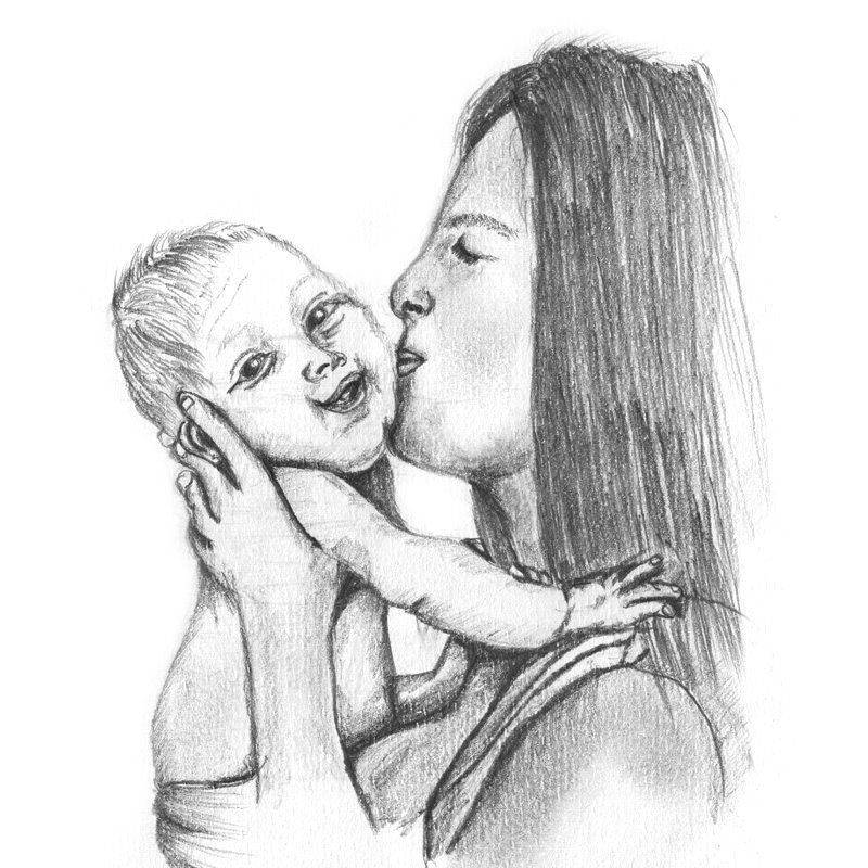 Pencil sketch of mother kissing baby pencil drawing