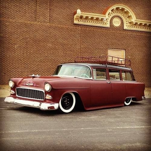 1955 Chevy Chevrolet Wagon With Satin Red Paint Black Wheels Whitewall Tires And Roof Rack Retro Cars Classic Cars Wagon