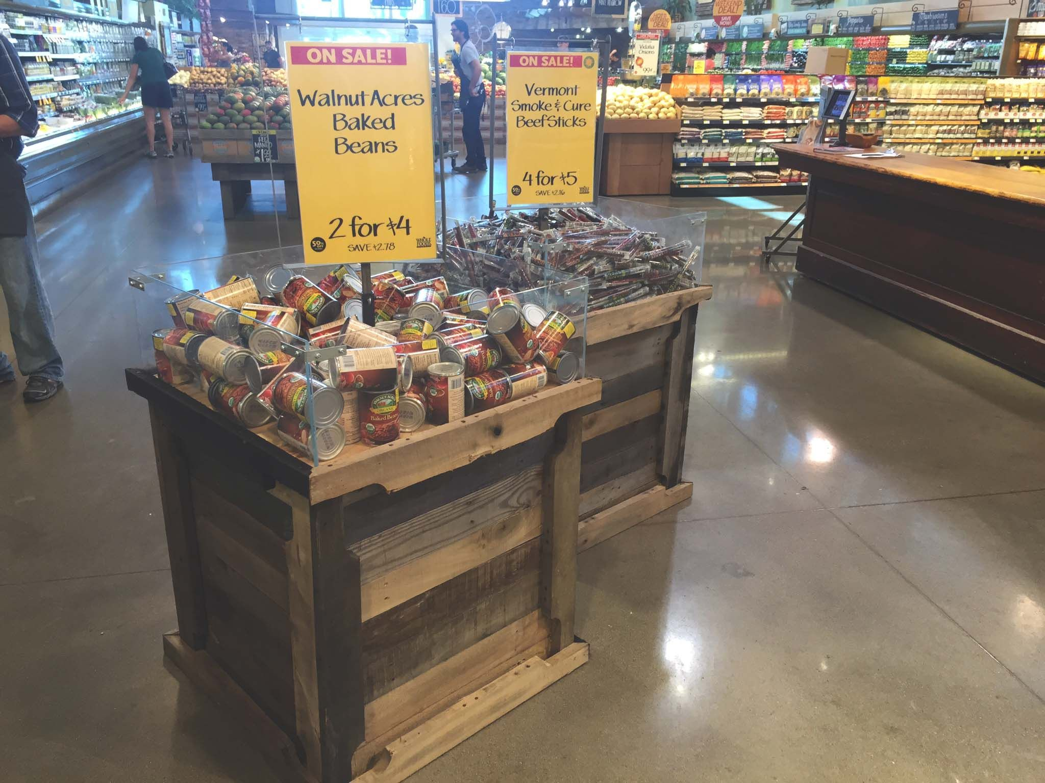 Sale display for Whole Foods created with reclaimed pallet wood